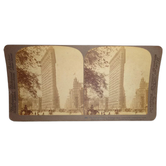 "Antique 1904 ""The Famous New York Flatiron Building"" Stereoview Card"