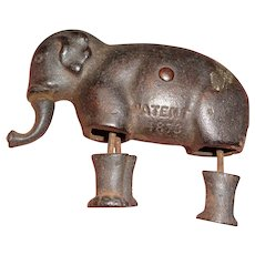 Scarce Antique Patent 1873 Ives Cast Iron Elephant Incline Walker Toy