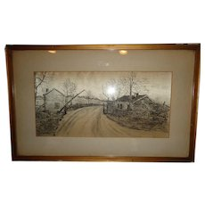 "Antique 19th.c Pen & Ink Drawing on Silk of an Old Toll Road & House by ""J.L. Hunter, 91"" (1891)"