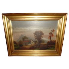 Vintage Oil on Canvas Painting of a Western Landscape & Church with a Cross