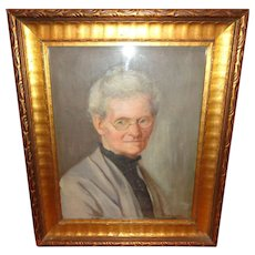 Vintage Oil on Canvas Portrait Painting of a Very Stern Looking Lady, Signed: A. Richardson