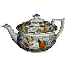 Very Rare Marked Antique 19th.c Salopian Soft Paste China Floral Decorated Hollow Ware Teapot