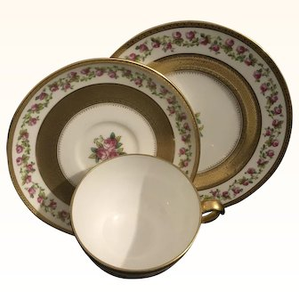 Minton Raised Gold and pink roses Trio.