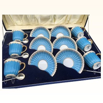 Rare Royal Crown Derby demitasse Demitasse Cups & Saucers in blue & gold gilt with silver plated spoons Boxed