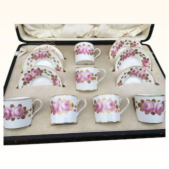 Signed George Jones Crescent China Demitasse coffee cups and saucers boxed and vgc