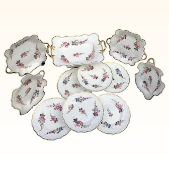1820 Samuel Alcock hand painted dessert service ,with flowers and  melting snow border