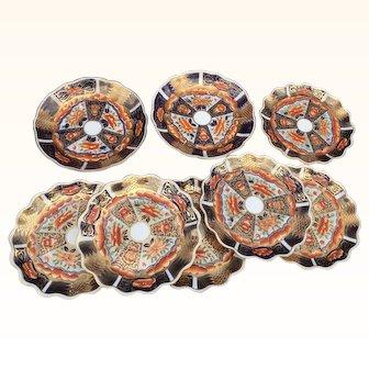 Coalport C,1870/ 1880 Imari Fish scales decorative Designed 8 piecers Part Dessert Service