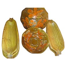 Vintage California U.S.A. art pottery orange  AND brown with 6 corn on the cob dishes