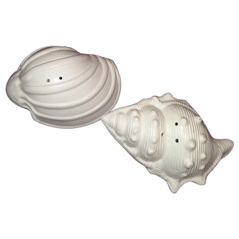 Pair of ceramic vintage seashell salt and pepper shakers