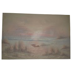 Vintage oil painting signed J. Thompson seascape and a small boat on the shore