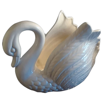 Swan planter. Iridescent ceramic vintage white bird planter signed Ljs