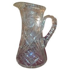 American Brilliant Cut Glass whirling star Pitcher