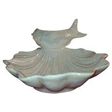 Vintage sea shell scallop and fish platter home decor Rare