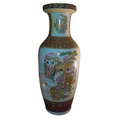 Asian Oriental Scene Decorative Vase Ceramic 2 FT