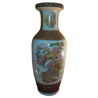 Asian Oriental Scene Decorative Vase Ceramic 2 FT