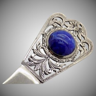 60.9g/2.14-oz. Vintage Solid Sterling Silver 925 Paper Knife w/t Raw Lapis Stone, Stamped