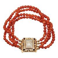 Georgian Coral Bracelet with Crystal Locket clasp