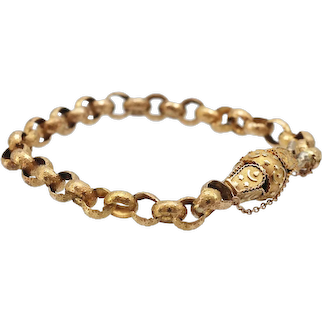 Georgian 15ct Yellow Gold Engraved  Open Link Bracelet
