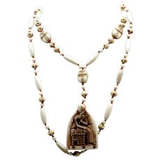 Deco Neiger Bros White Egyptian revival flapper necklace