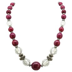 Louis Rousselet French Art Deco burgundy Art Glass and Yellow Metal Necklace
