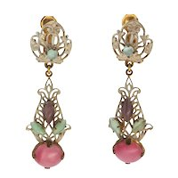 Vintage painted metal and Pate de Verre glass drop earrings