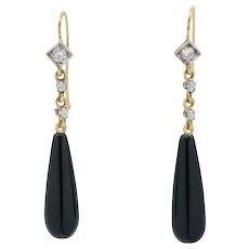 Deco style Onyx and Diamond drop earrings