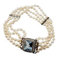 "Edwardian cultured Pearl, Silver and ""Aquamarine"" coloured crystal bracelet."