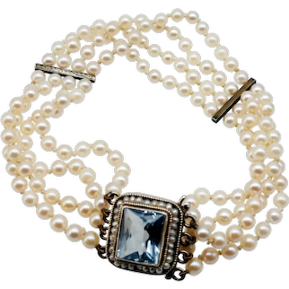 "Edwardian cultured Pearl,Silver and ""Aquamarine"" coloured crystal bracelet."