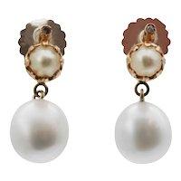 Cultured Pearl and rosecut Diamond Earrings