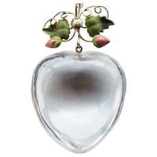Victorian hand carved puffy heart crystal and enamel pendant