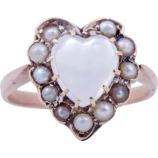 Victorian 9ct Moonstone Heart Shaped Ring