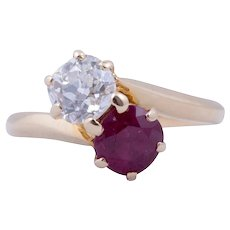 """Victorian Ruby and Diamond """"Toi et Moi"""" ring"""