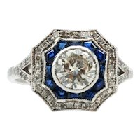 Bespoke 18ct White Gold, Diamond and Sapphire ring.