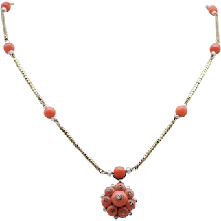 Early Victorian 15ct Gold, Coral and Rose Cut Diamond Necklet