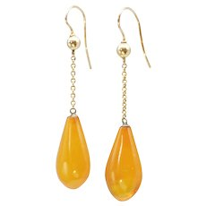 Victorian 9ct gold drop Amber earrings