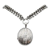 Victorian Sterling Silver Collar and Locket Set C1893