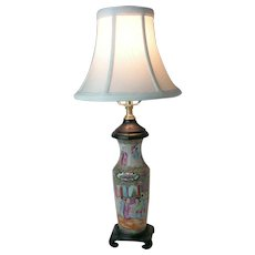 Antique 19th Century Chinese Rose Canton Vase Wired Into a Lamp