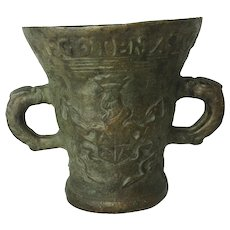 Antique Lead German Mortar