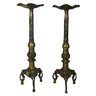 Pair of Vintage Chinese Brass Candlesticks