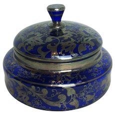 Vintage Cobalt Blue Glass Bowl and Lid with Silver Overlay