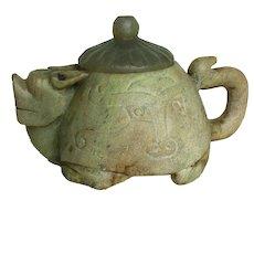 JM-0051 Vintage Carved Soapstone Teapot