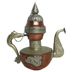 Antique Copper and Brass Teapot with Dragon Embellishment