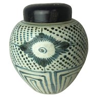 Vintage Chinese Blue & White Porcelain Ginger Jar with Wooden Lid