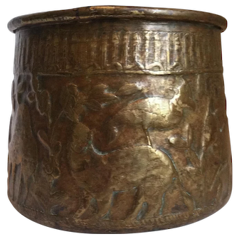 Vintage Brass Pot Featuring Bas-Relief Flora and Fauna