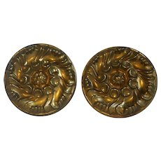 Pair of Old English Regency-Style Curtain Tiebacks Brass