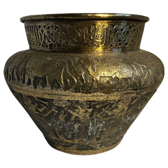 Large Brass English Pot with Egyptian Scene
