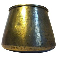 Vintage Incised Tapered Brass Planter