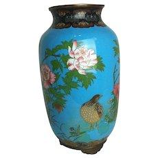 Antique Vibrant Blue Cloisonne Vase with Flowers, Butterflies, and Birds
