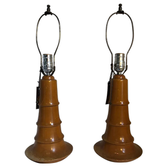 Pair of Wooden Art Deco-Style Lamps
