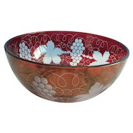 """Ruby Red large glass engraved bowl 9 1/2"""" in diameter and 4"""" deep"""
